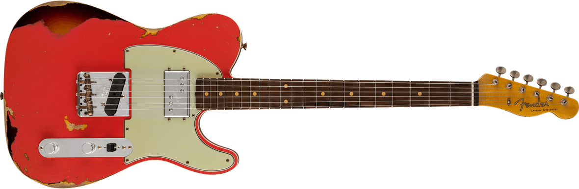 Cunife Tele® Custom Heavy Relic®, AAA Rosewood Fingerboard, Aged Fiesta Red over 3-Color Sunburst