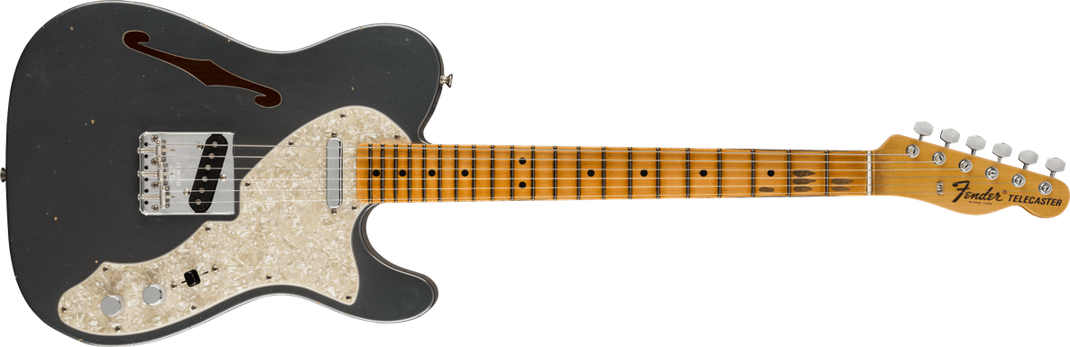1968 Telecaster® Thinline Journeyman Relic®,Closet Classic Hardware, Maple Fingerboard, Charcoal Frost Metallic