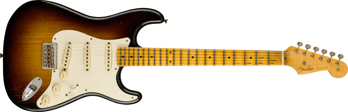 1957 Hardtail Stratocaster® Journeyman Relic, AA Flame Maple Fingerboard, Faded Aged 2-Color Sunburst