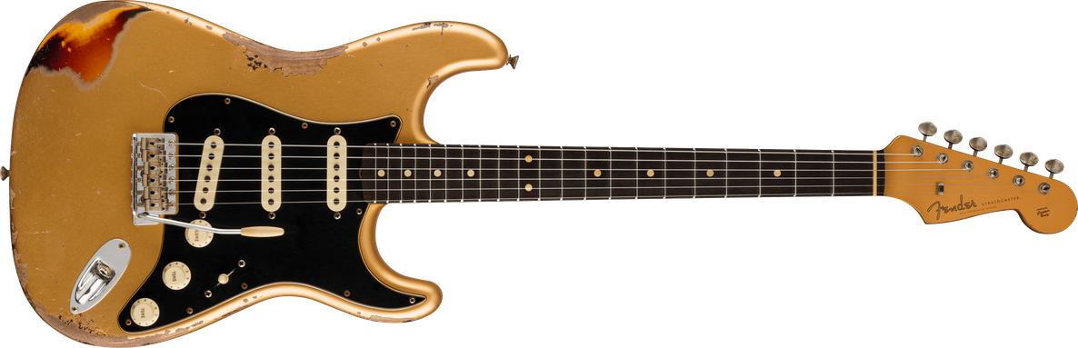 Limited Edition - Limited Edition Dual-Mag II Strat® Heavy Relic®, Rosewood Fingerboard, Aged Aztec Gold over 3-Color Sunburst