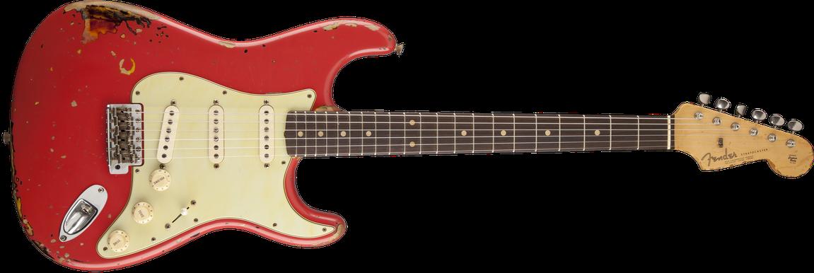 Michael Landau Signature 1963 Relic Stratocaster®, Round-Laminated Rosewood, Fiesta Red over 3-Color Sunburst
