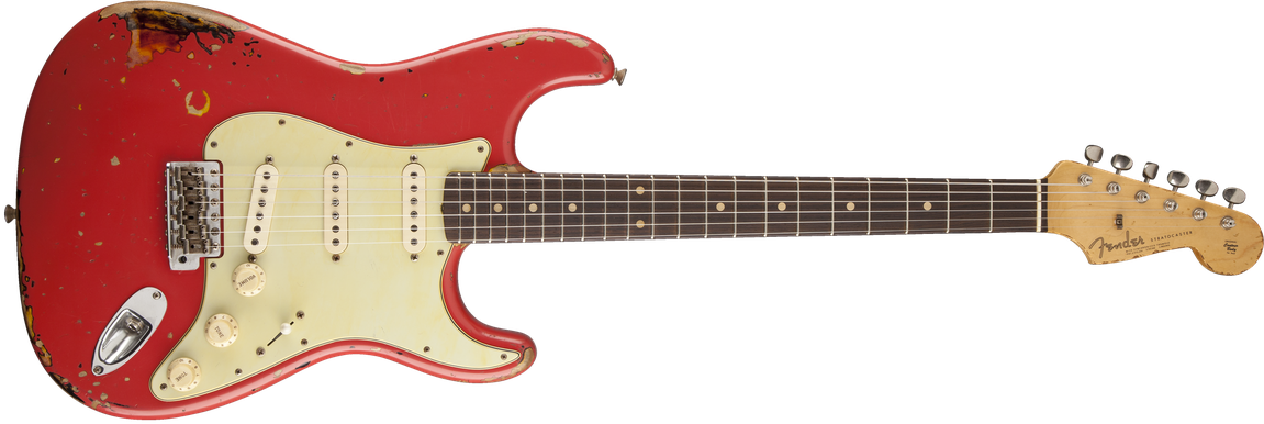 Michael Landau Signature 1963 Relic Stratocaster®, Round-Laminated Rosewood, Fiesta Red over 3-Color Sunburst