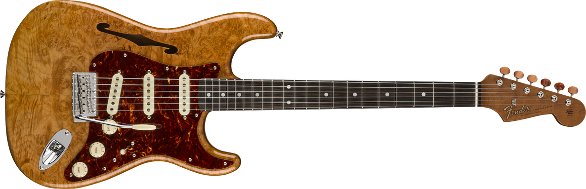 Artisan Maple Burl Stratocaster® Thinline, Roasted Ash Body with AAAA Figured Maple Burl Top, Ebony Fingerboard, Aged Natural