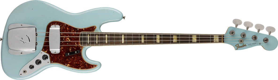 1966 Jazz Bass® Journeyman Relic®, Round-Laminated Rosewood Fingerboard, Aged Daphne Blue